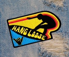 Vintage Style 70's 80's Hang Loose Surfer Patch 9.5cm Applique
