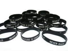 """Attitude Is Everything - Never Quit - Own It"" Rubber Motivational Morale Wristband Braclet"