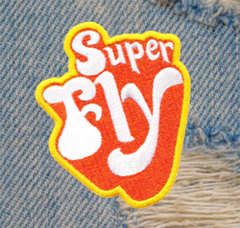 Vintage 70's Style Super Fly Disco Patch 8cm