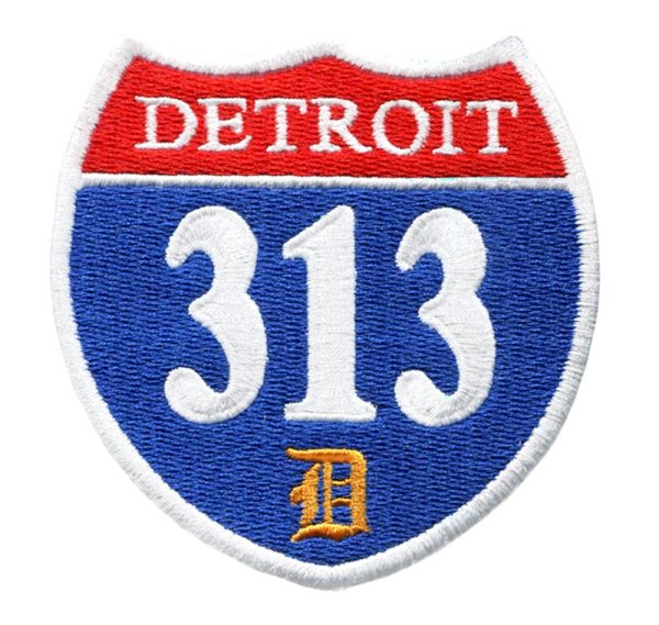 "Vintage/Urban Style ""Detroit 313"" Interstate Road Sign Patch 7.5cm"