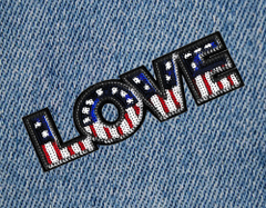 Cool USA Sequins Love Patch 24cm Iron On Applique