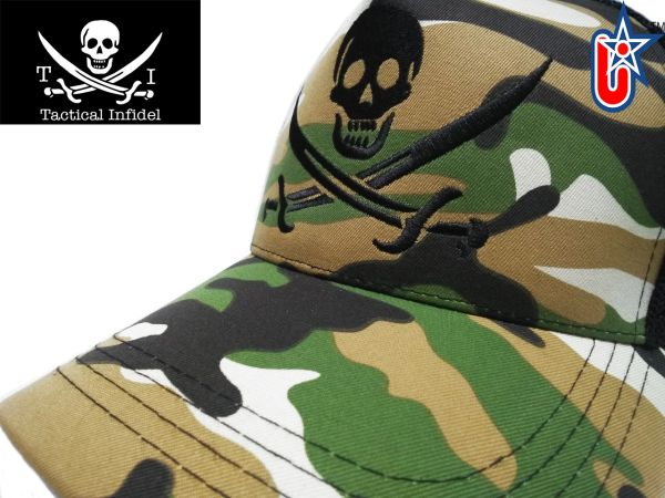 Tactical Infidel Jolly Roger Pirate Camo Trucker Hat