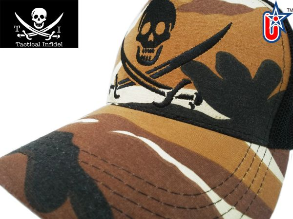 Tactical Infidel Jolly Roger Pirate Desert Camo Trucker Hat