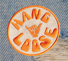 "Vintage Style 70's 80's Hawaii Surf Surfing ""Hang Loose"" Morale Patch 8cm"