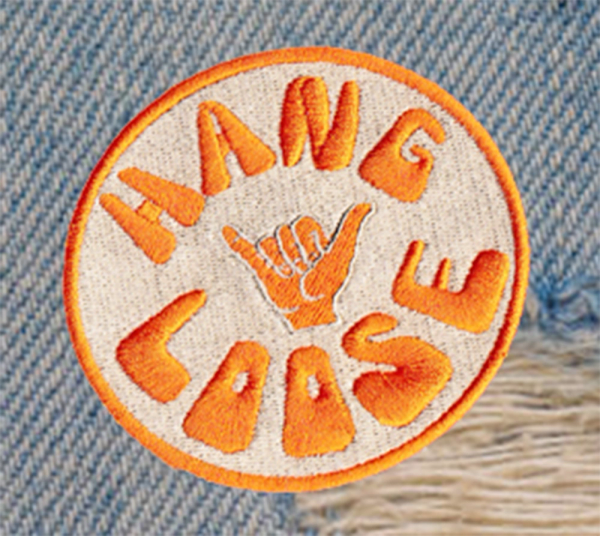 """Vintage Style 70's 80's Hawaii Surf Surfing """"Hang Loose"""" Morale Patch 8cm"""
