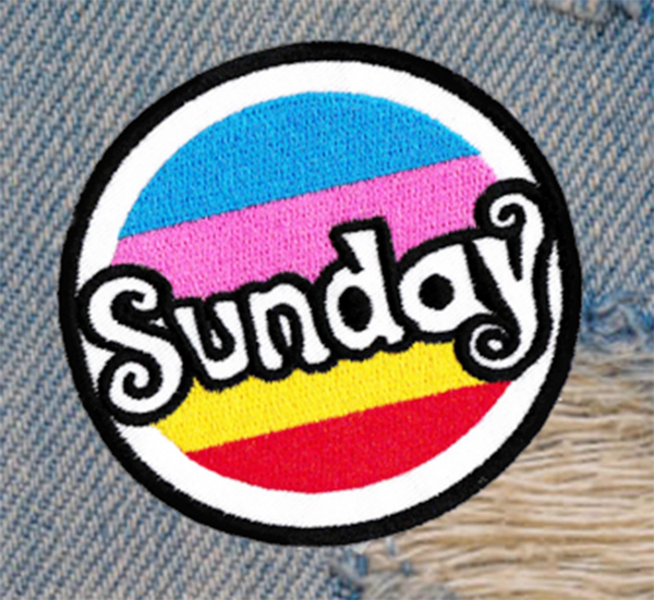 """Vintage Style 70's 80's Surf Surfing """"Sunday"""" Morale Patch 7cm / 2.8 inches"""