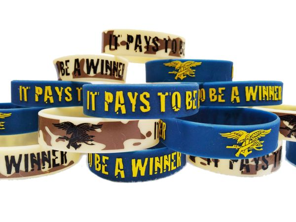 """It Pays To Be A Winner"" PVC Silicon Rubber Motivational Morale Wristband Braclet"