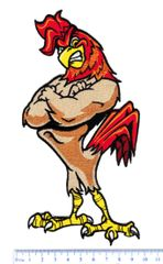 XXL Extra Large Muscular Chicken Man Patch 20cm / 8 inches