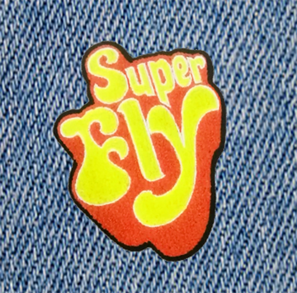 Chenille Vintage 70's Style Super Fly Disco Patch 10cm / 4 inch