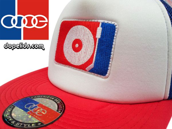 smartpatches DJ Turntable Silhouette Flat Bill Trucker Hat (Red, White, Blue)