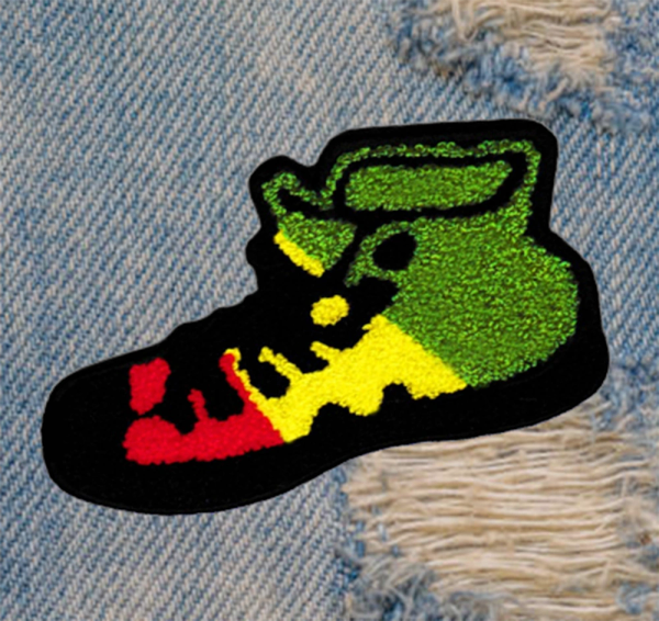 XL Extra Large Chenille Hi Top Rasta Shoe Patch 14cm / 5.5 inch