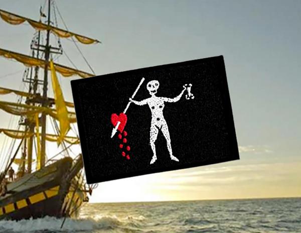 Cool John Quelch Pirate Flag Skull Patch Applique 7cm
