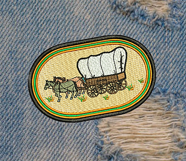 Americana Mustang Horse and Buggy Patch 11cm / 4.3 inch