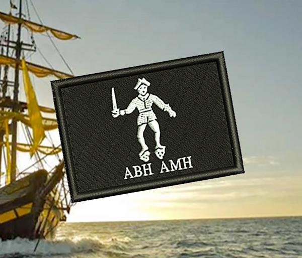 Cool Bartholomew Roberts Pirate Flag Skull Patch Applique 7cm