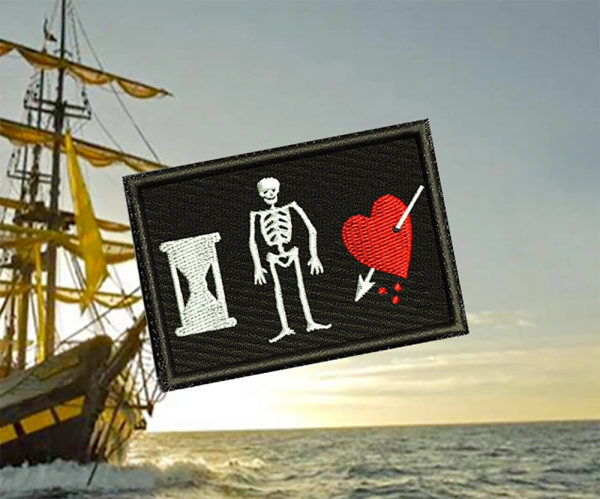 Cool John Phillips Pirate Flag Skull Patch Applique 7cm