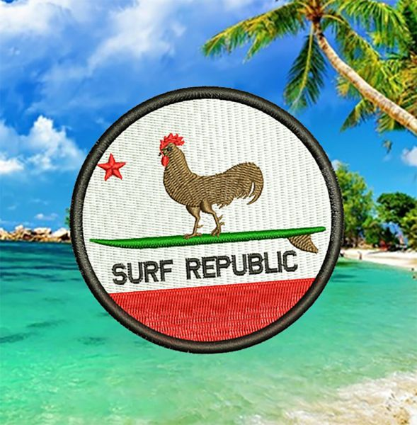 Cool California Republic Surf Chicken Beach Surfing Surfer Patch 8cm