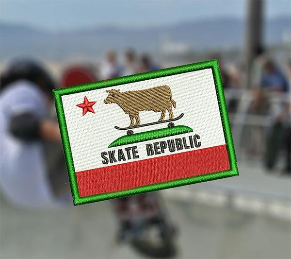 Cool California Republic Skater Cow Beach Skate Skating Patch 8cm