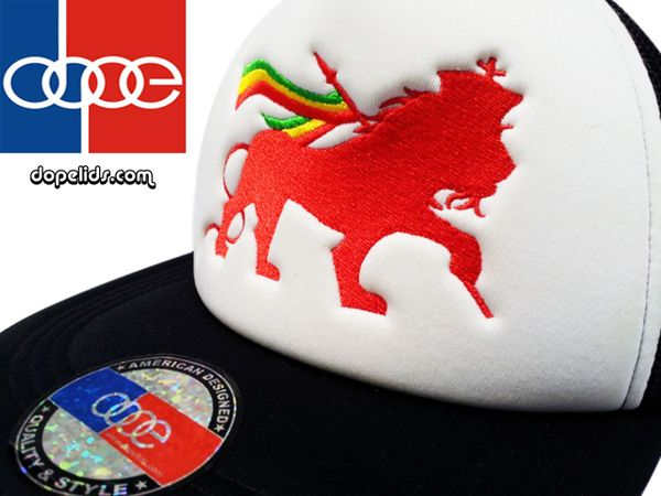 "smartpatches ""Lion of Judah"" Rasta Vintage Style Trucker Hat (Red Lion)"