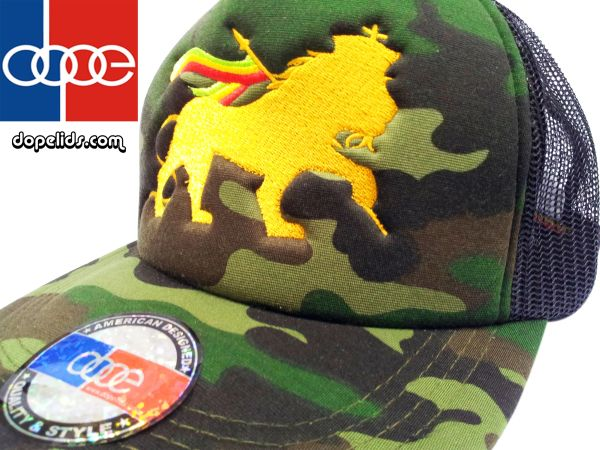"smartpatches ""Lion of Judah"" Rasta Vintage Style Trucker Hat (Camo Hat Gold Lion)"