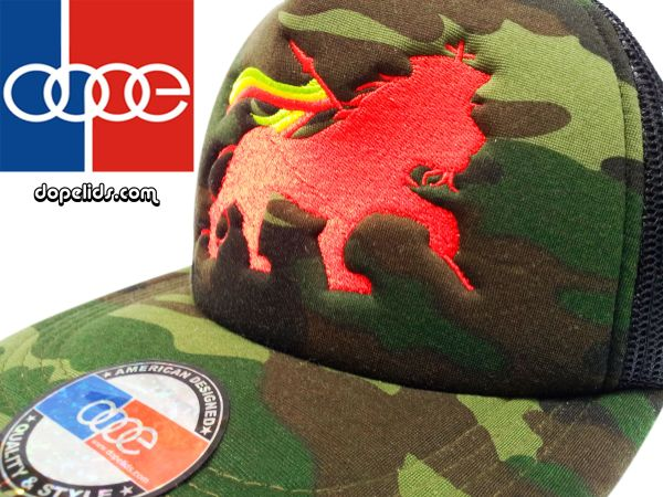 "smartpatches ""Lion of Judah"" Rasta Vintage Style Trucker Hat (Camo Hat Red Lion)"