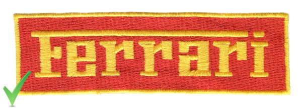 Ferrari Script Patch Red and Yellow 13cm x 4cm