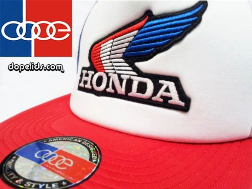 smartpatches Honda Vintage Wing Style Motorcycle Trucker Hat (R/W/B Hat R/W/B Wing)