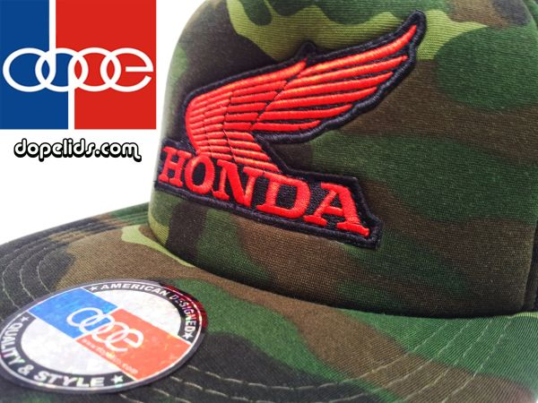 smartpatches Honda Vintage Style Motorcycle Trucker Hat (Red Wing/Camo)