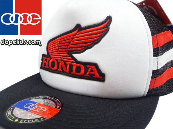 smartpatches Honda Vintage Style Motorcycle Trucker Hat (Red/White Stripes)