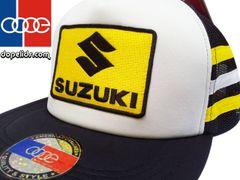 smartpatches Suzuki Vintage Style Motorcycle Trucker Hat (Yellow/White Stripes)