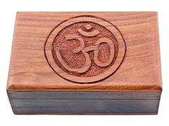 Oval OM SYMBOL CARVED WOOD BOX