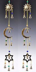 SUN MOON & STAR CHARMS WTIH BEADS AND BELLS BRASS CHIME