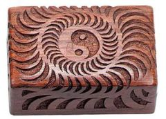 SUN-YIN YANG CARVED WOOD BOX