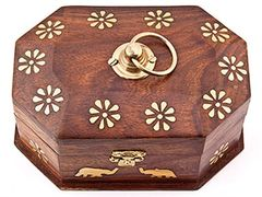 FLORAL DESIGN WITH ELEPHANT BRASS INLAID WOOD BOX