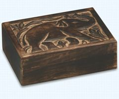 Hand Carved Mango Wood Elephant Box