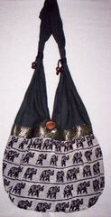 Fabric Shoulder Handbag with Elephant Detail