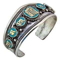 KALACHAKRA WITH TIBETAN MANTRA WHITE METAL BRACELET