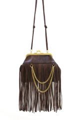 Genuine Leather Signature Fashion Clutch Fringe Cross-Body Handbag