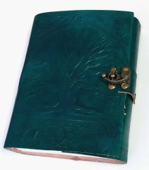 Embossed Handmade Leather Journal Diary With Lock Front