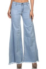 Stretch Tencel Wide Leg Denim with Freyed Hemline