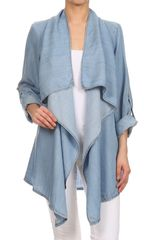 Light Wash Tencel Denim Drape Cardigan
