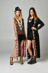 Bohemian Long Sleeve Embroidered Detail Maxi Cardigan