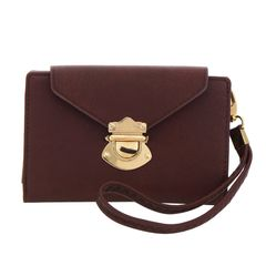 Brown Faux Leather Wristlet Wallet