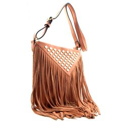 ANTIK KRAFT MONO TONE COLORED FRINGE CROSS BODY HANDBAG