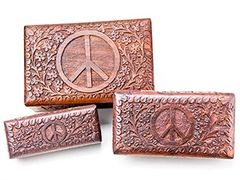 PEACE SIGN CARVED WOOD BOX SET
