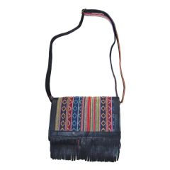 Striped Cotton Handbag With Leather Fringe Detail