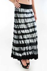 T PARTY HORIZONTAL DYED FOLD OVER WAIST MAXI SKIRT