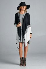 BOHO STRIPED COLOR BLOCK WATERFALL CARDIGAN