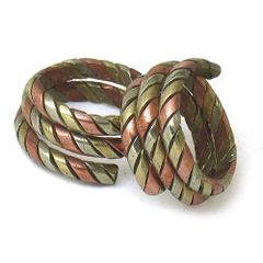COIL STYLE TIBETAN 3 COLOR COPPER AMULET SNAKE RING