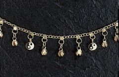 Silver Anklet With Yin Yang Charms
