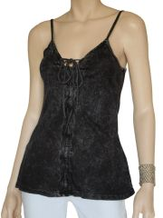 T PARTY Black Mineral Wash LACED UP CAMI Tank TOP